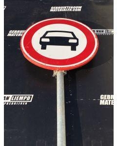 Verkeersbord (Verboden voor Auto's) + Flespaal (250 cm)